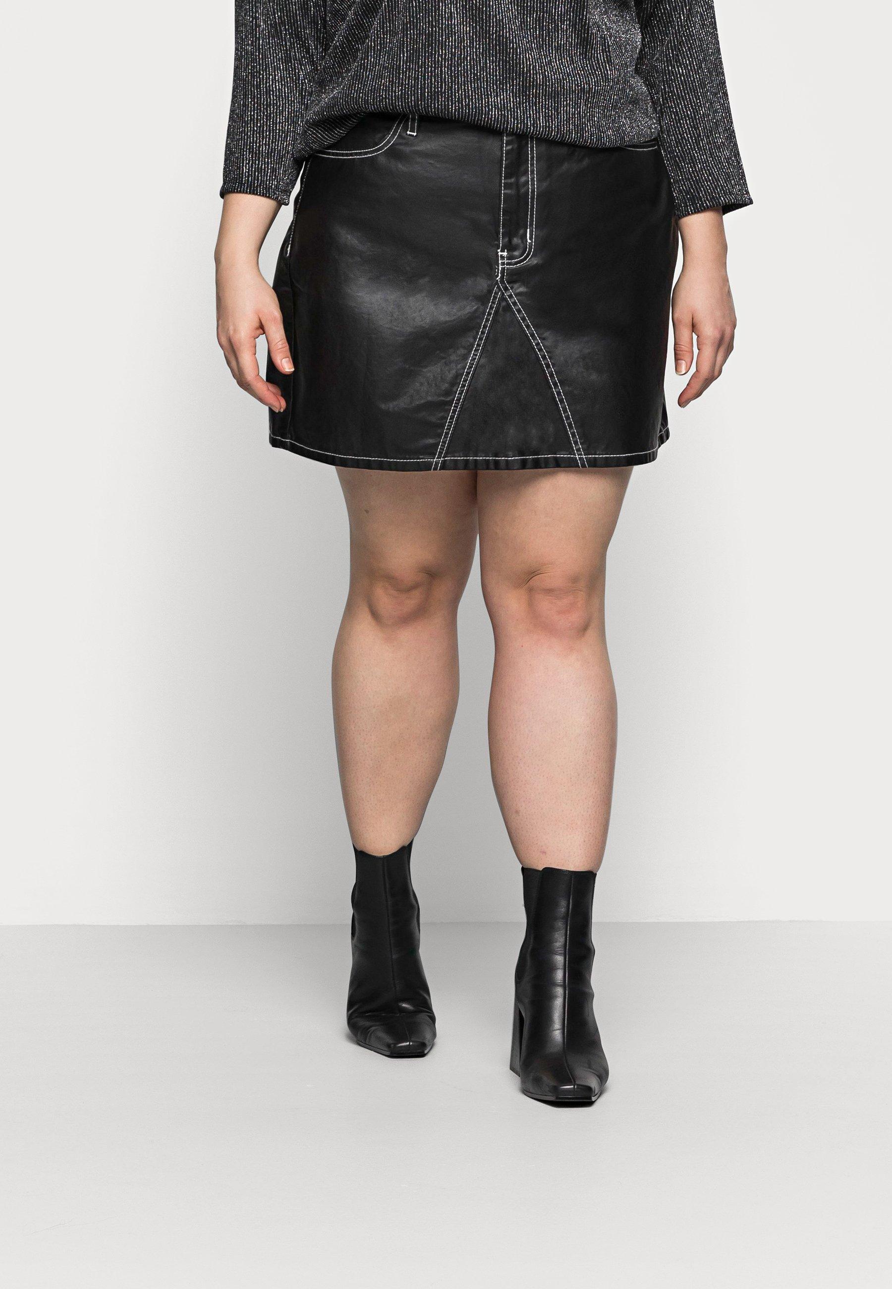 Mujer COATED CONTRAST STITCH SKIRT - Minifalda