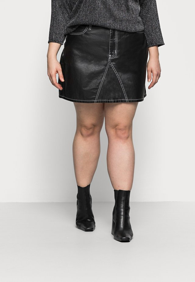 COATED CONTRAST STITCH SKIRT - Minirok - black
