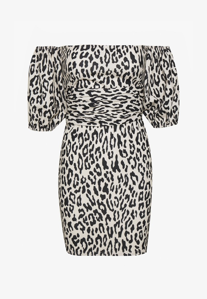 Missguided - LEOPARD PUFF SLEEVE BARDOT DRESS - Denní šaty - sand