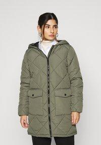 Noisy May Petite - NMFALCON LONG JACKET - Winter coat - dusty olive - 0