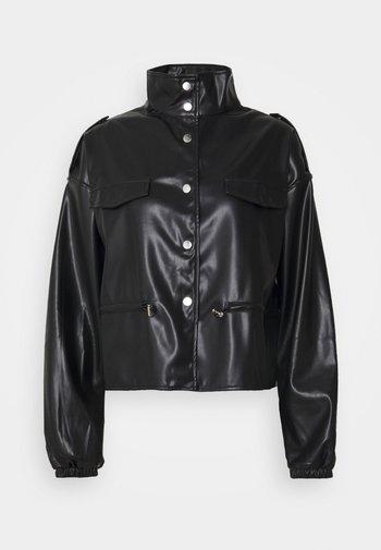 TOGGLE WAIST CROPPED JACKET - Faux leather jacket - black