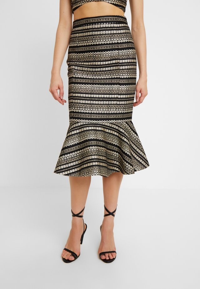 KICK FLARE SKIRT - Kokerrok - black/gold