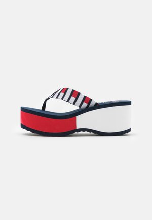 FLAG HIGH BEACH - T-bar sandals - twilight navy