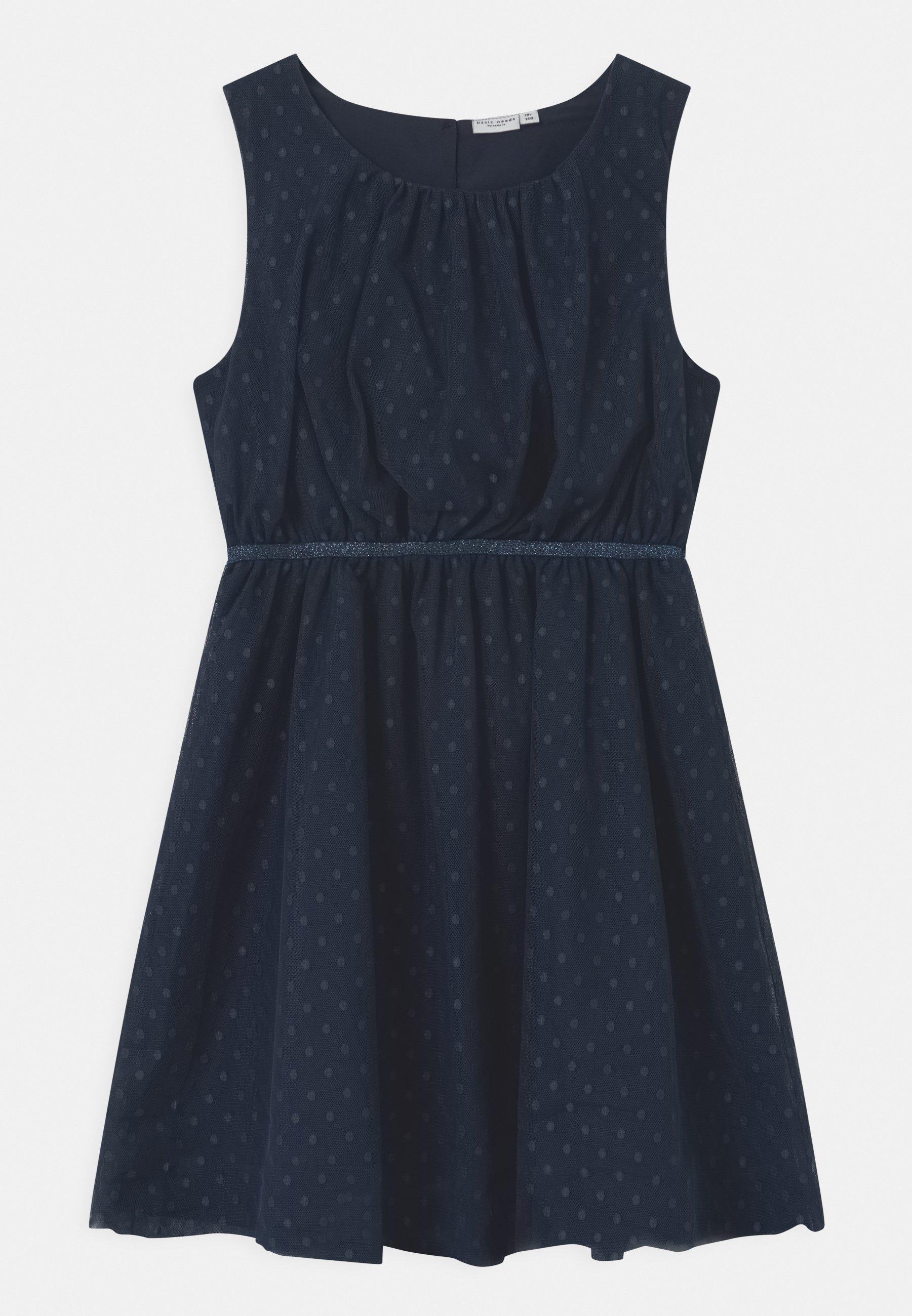 Mädchen Kleid Tüllkleid Sommerkleid Nkfvaboss Hellblau Neon Coral Name it