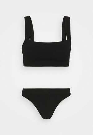 SEAMFREE STRAIGHT NECK CROP HIGH CUT BRASILIANO SET - Kalhotky - black