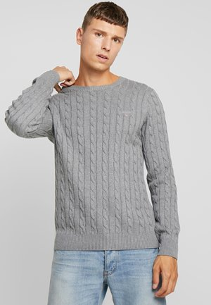 CABLE CREW - Strickpullover - dark grey melange