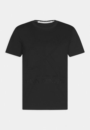 EMBOSSED REGULAR FIT TEE - Print T-shirt - black