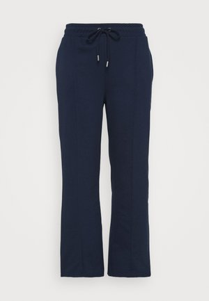 PLEAT FRONT WIDE LEG JOGGERS - Pantalon classique - navy
