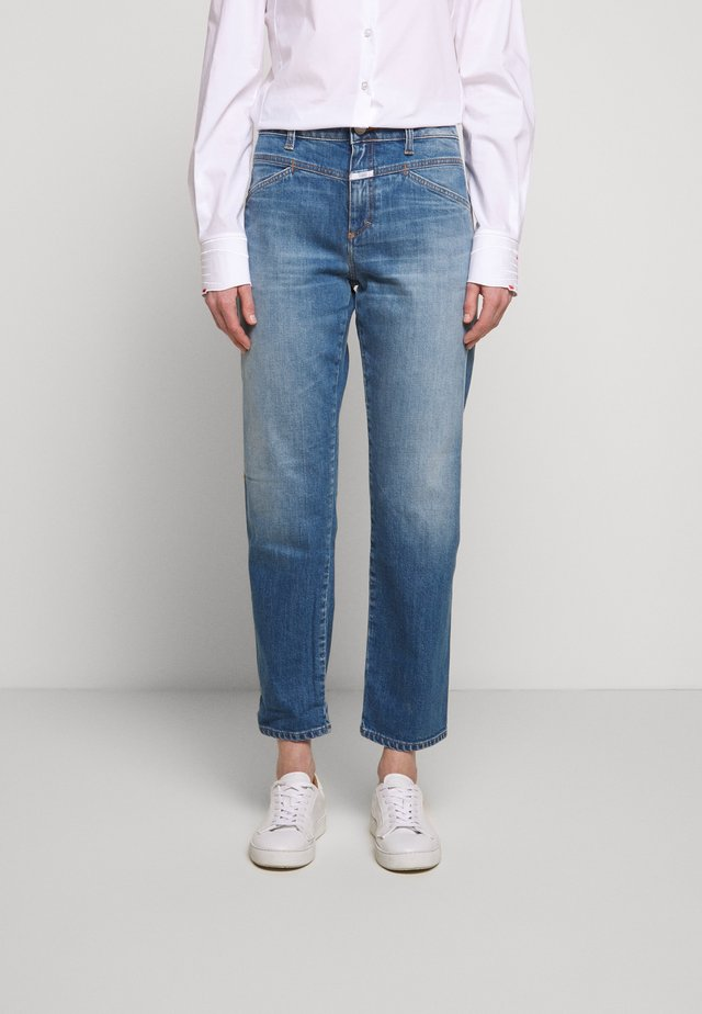 CROPPED - Jeansy Straight Leg - mid blue