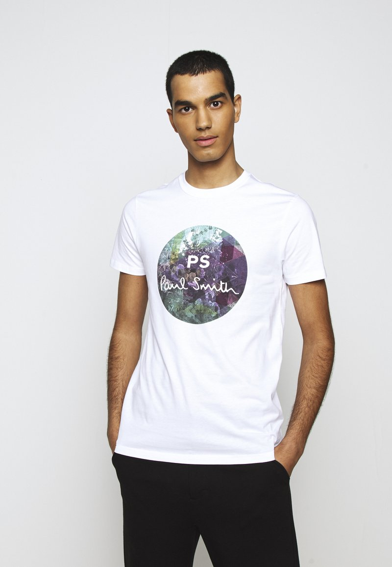 PS Paul Smith - MENS SLIM FIT CIRCLE - Print T-shirt - white