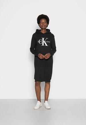HOODIE DRESS MONOGRAM - Day dress - black