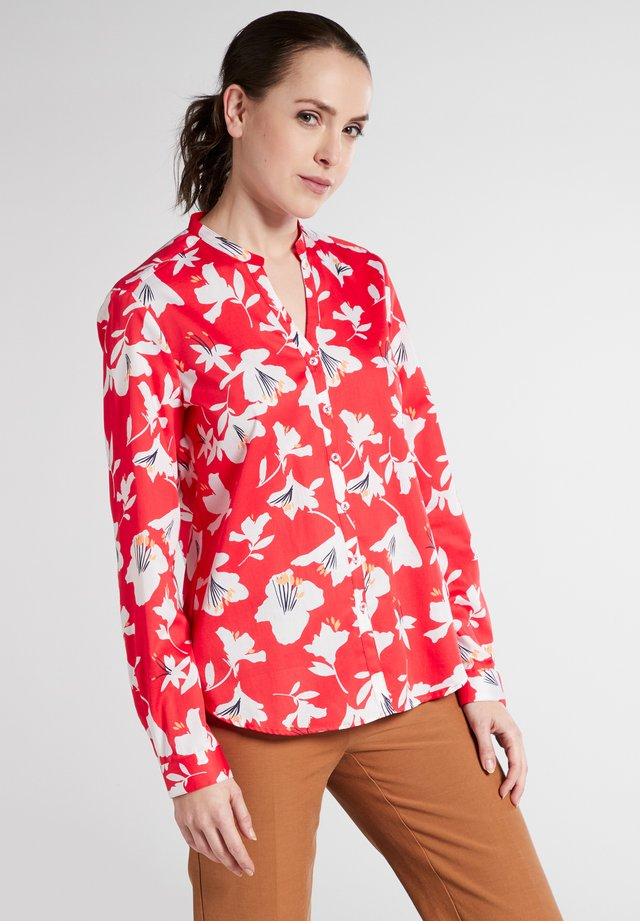 FITTED WAIST - Button-down blouse - Red/White