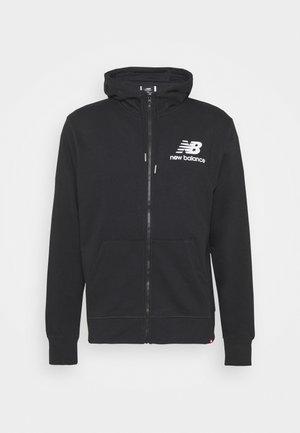 ESSENTIALS STACKED FULL ZIP HOODIE - Zip-up sweatshirt - black
