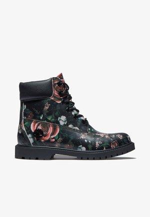 Lace-up ankle boots - black floral print