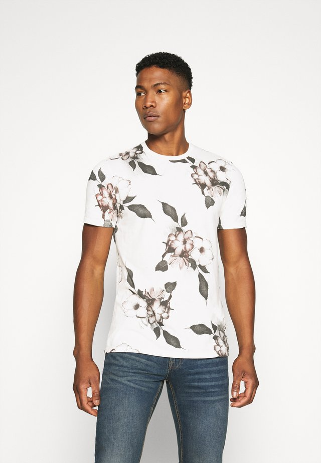 FLORAL TEE - T-shirts med print - winter white