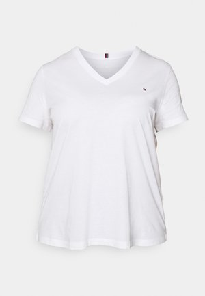 NEW V NECK TEE - T-shirts - white