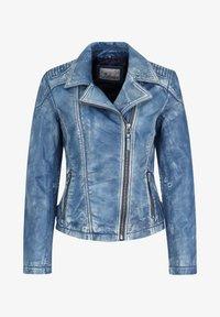 7eleven - MIT ASYMMETRISCHEM REISSVERSCHLUSS - Leather jacket - bluewhite - 3