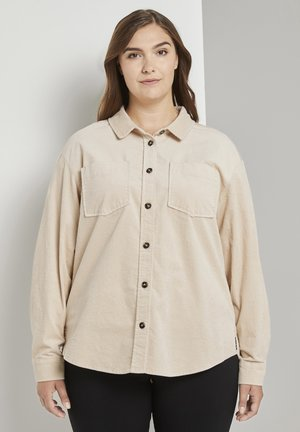 Button-down blouse - warm sand beige