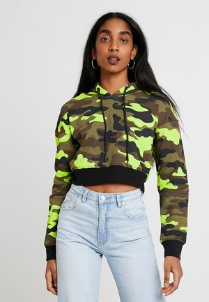 LADIES CROPPED PRINTED CAMO HOODY - Hoodie - frozenyellow