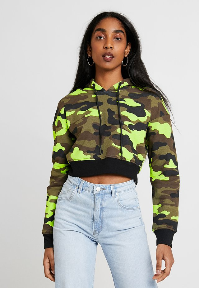 LADIES CROPPED PRINTED CAMO HOODY - Mikina skapucí - frozenyellow
