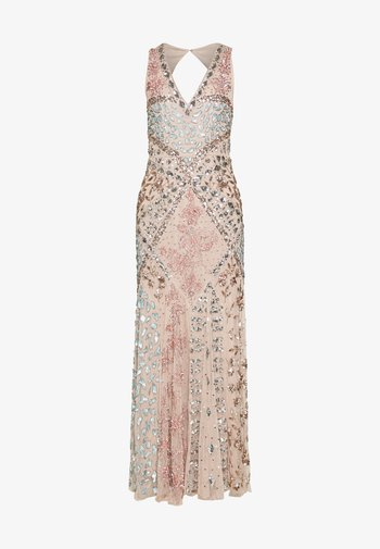 DEEP V NECK EMBELLISHED MAXI DRESS WITH CUT OUT BACK