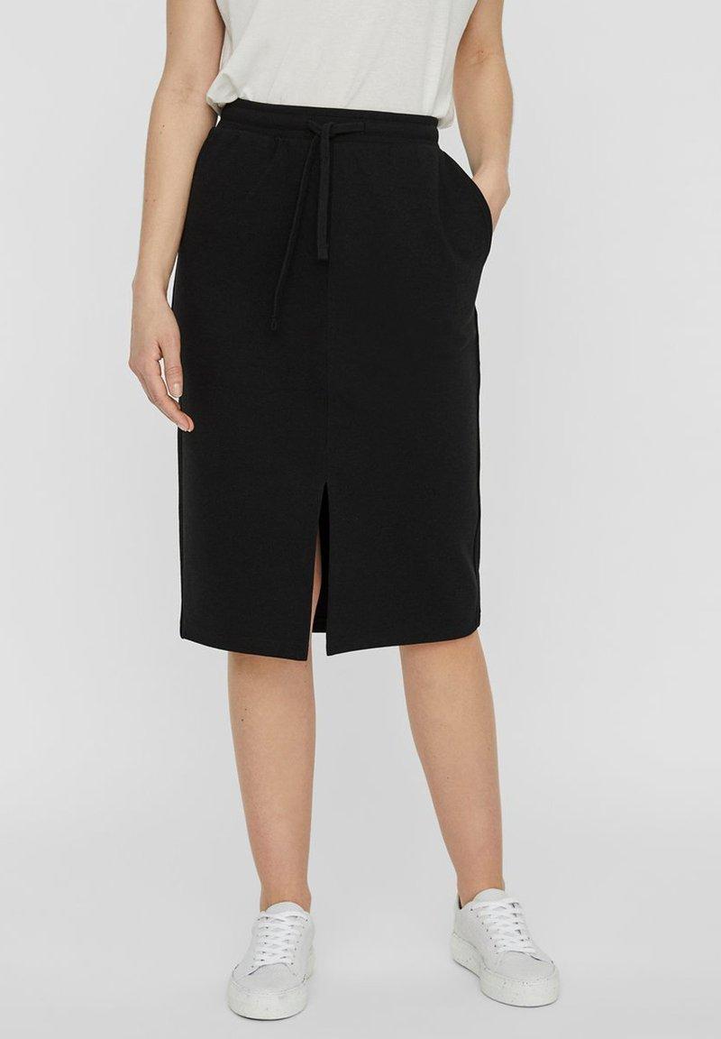 Vero Moda - ROCK NORMAL WAIST - A-line skirt - black