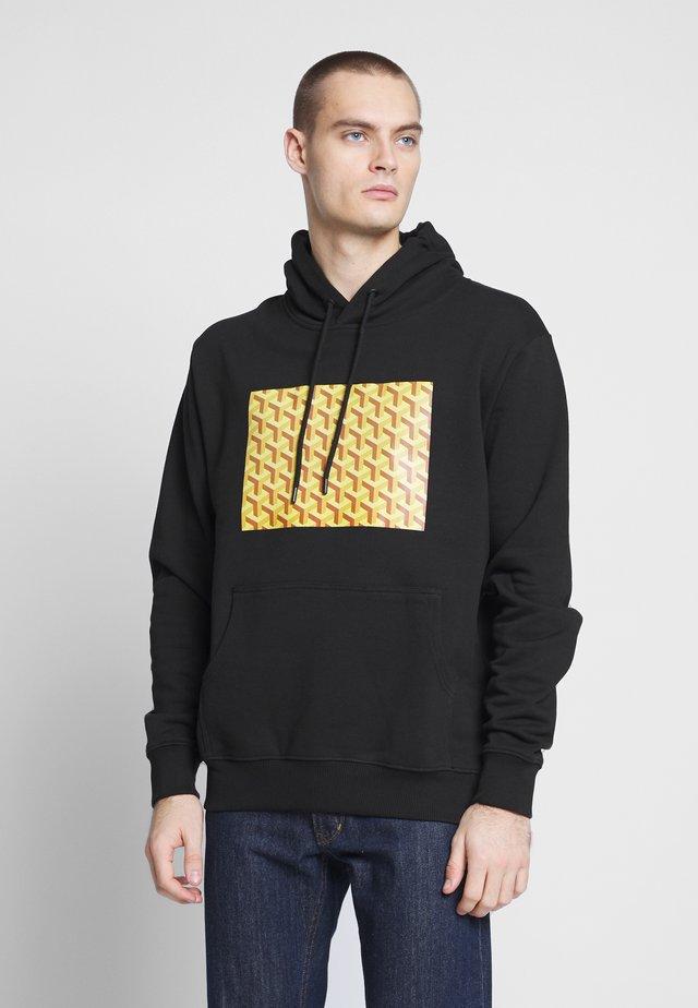 LOUVRE BOX HOOD - Bluza z kapturem - black/yellow