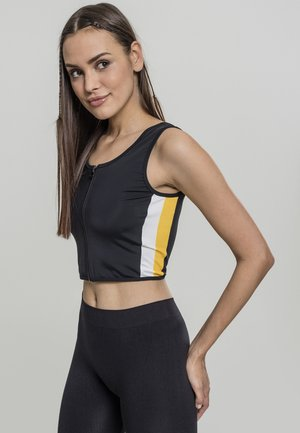 LADIES SIDE STRIPE CROPPED ZIP  - Top - black/white/chromeyellow