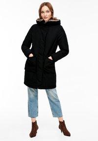 s.Oliver - MIT PLÜSCH-DETAILS - Winter coat - black - 1