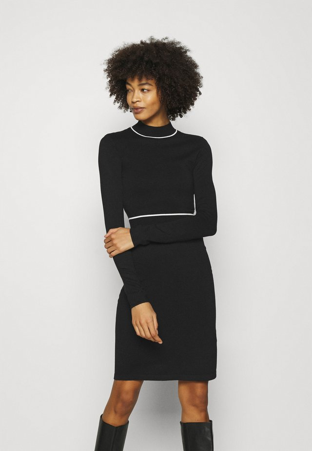 CONTRAST PIPING CINTURED MINI DRESS - Gebreide jurk - black / white
