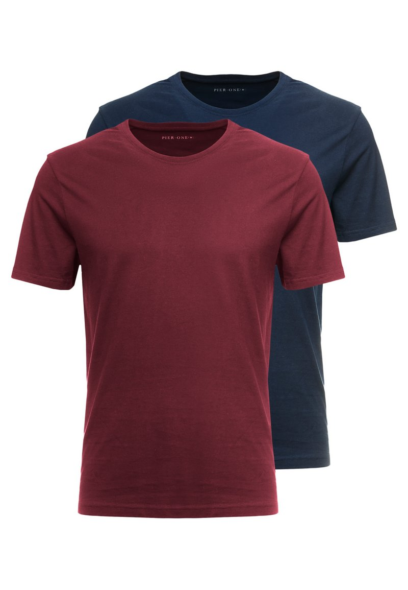 Pier One - 2 PACK - T-shirt basique - bordeaux