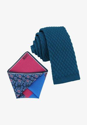CRAVATTA MAGLIA & ARTEQUATTRO SET - Pocket square - petrol   pink marine blau paisley & punkte