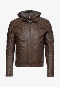 ERIC HOOD - Leather jacket - mocca