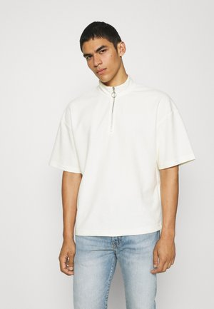 JORCASEY QUARTER ZIP HIGH NECK - T-shirt con stampa - whisper white