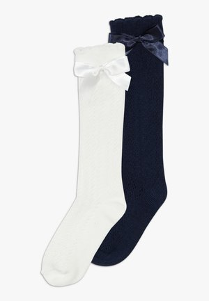 MIT SCHLEIFE 2 PACK - Knee high socks - navy/creme