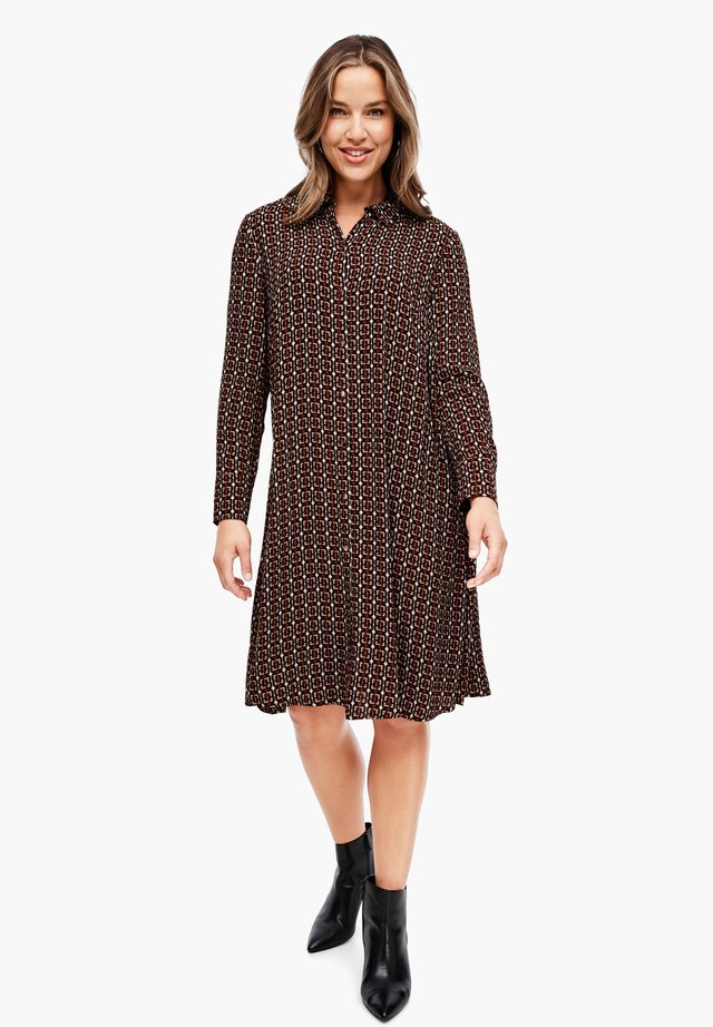CRÊPE-KLEID - Shirt dress - brown aop