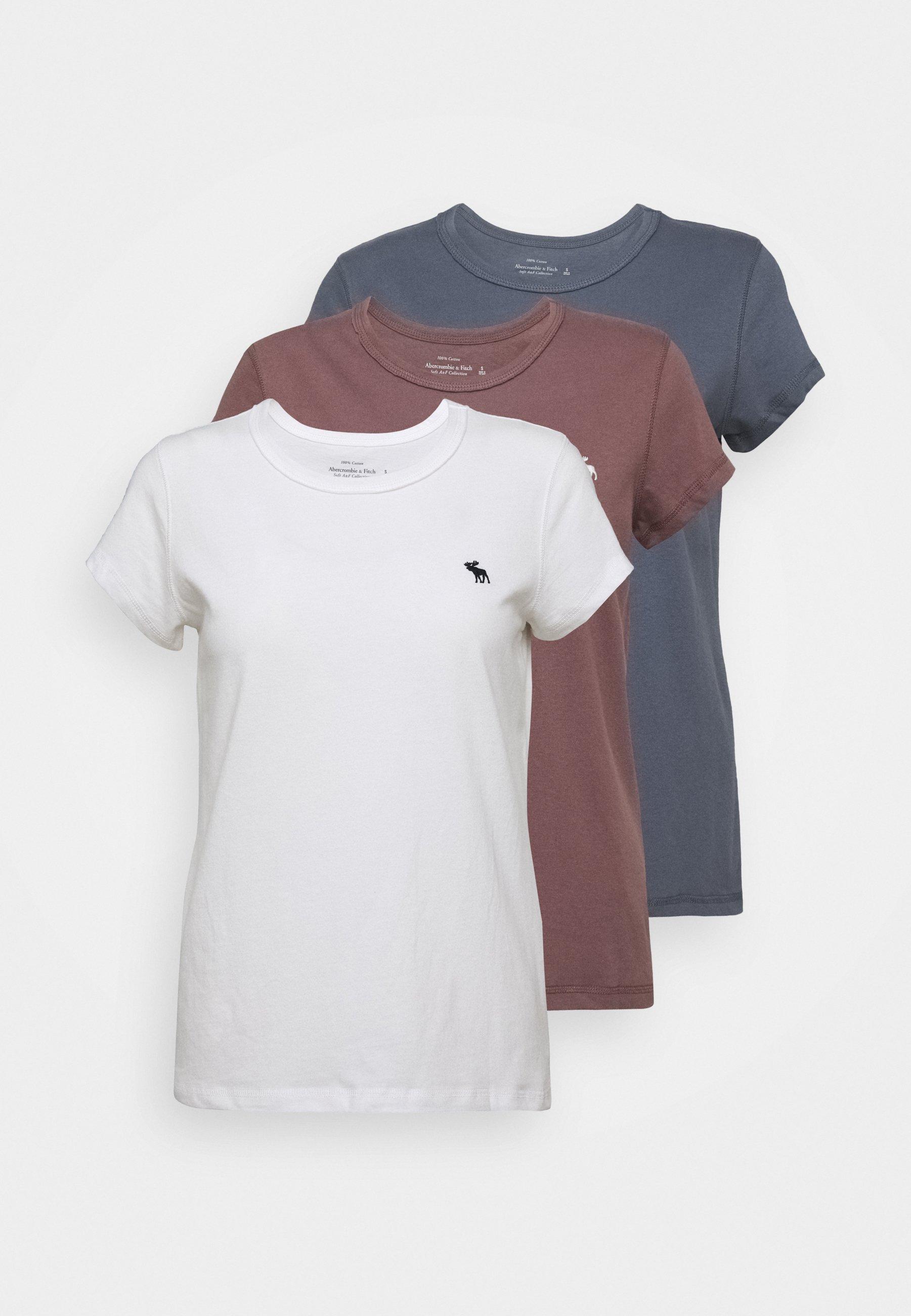 Abercrombie & Fitch SEASONAL 3 PACK - T-shirt basic - navy/white/red - Abbigliamento da donna Sbrigati