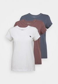 Abercrombie & Fitch - SEASONAL 3 PACK - Basic T-shirt - navy/white/red - 0