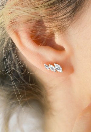 WHITE TOPAZ DIAMOND EARRINGS - Earrings - white rhodium silver