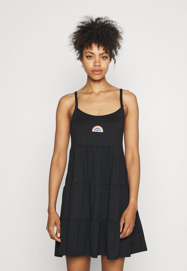PRIDE CAPSULE EMBROID BABYDOLL DRESS - Jerseykleid - black
