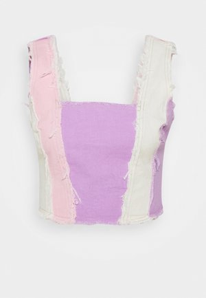 PATCHWORK SQUARE NECK CORSET WITH FRAYED SEAMS - Linne - multi coloured