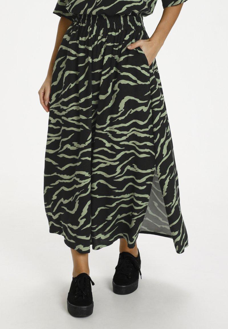 Kaffe - Maxi skirt - black  hedge zebra print