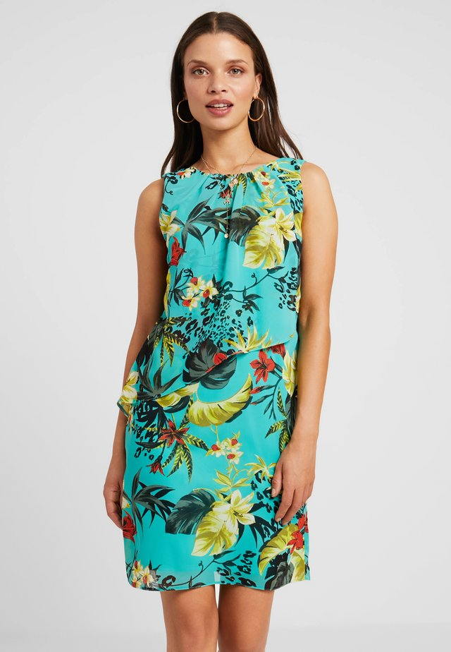 SLEEVELESS TEAL TROPICAL TRAPEZE DRESS - Korte jurk - teal