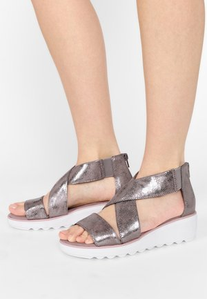Sandalen met sleehak - zinn-metallic