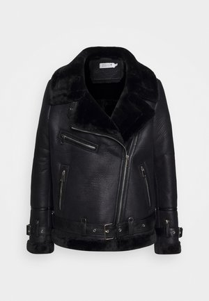 LADIES ACKET - Faux leather jacket - black
