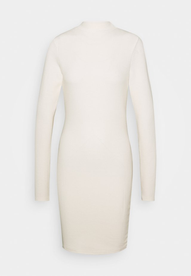 HIGH NECK LONG SLEEVE MINI DRESS - Kotelomekko - vanilla