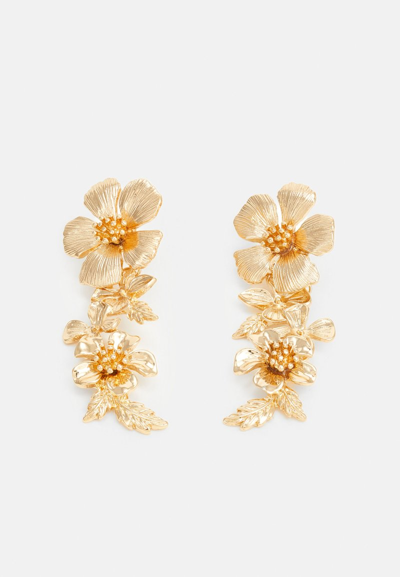 Topshop - SUM FLORAL DROP - Orecchini - gold-coloured