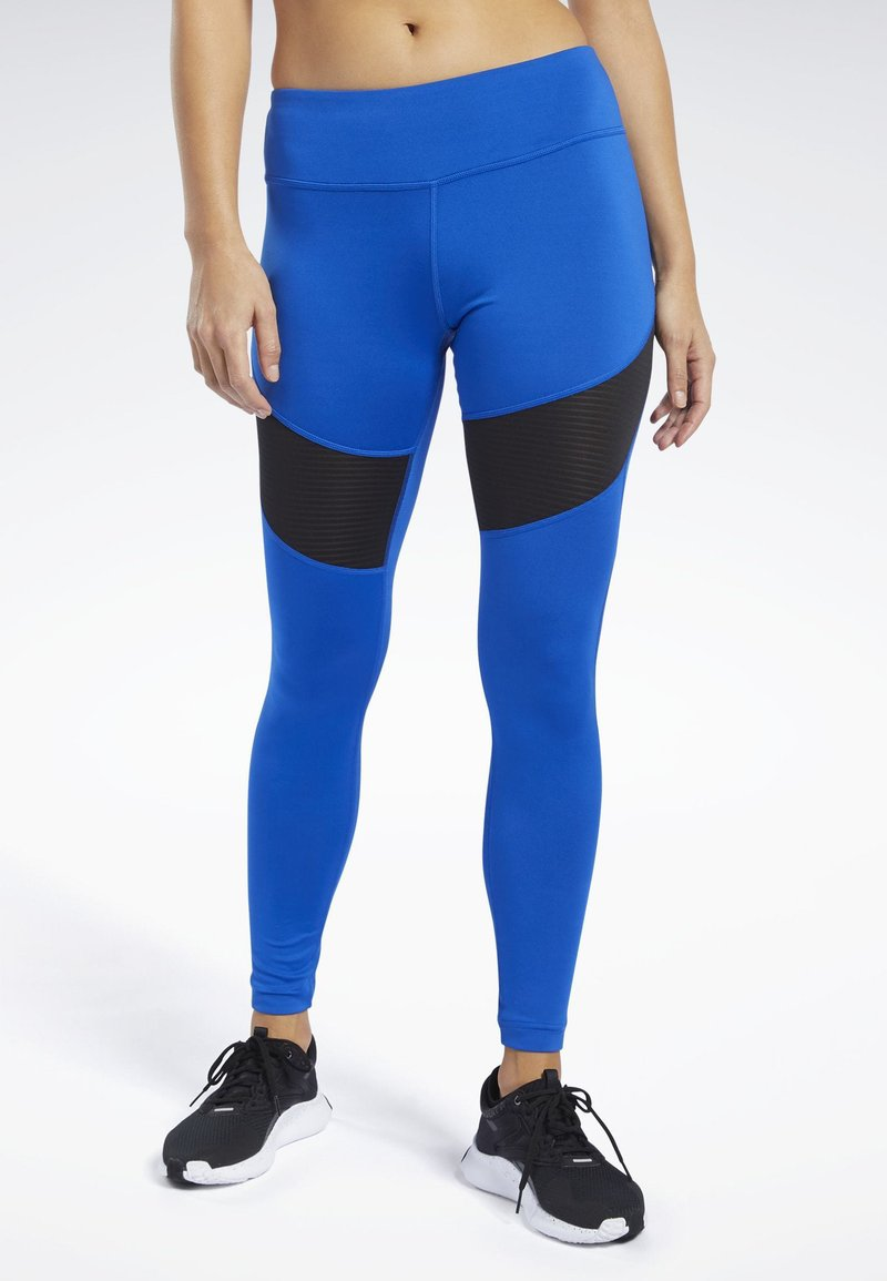 Reebok - WORKOUT READY MESH TIGHTS - Leggings - blue