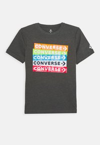 Converse - COLOURBLOCKED LOGO TEE - Print T-shirt - charcoal grey heather - 0