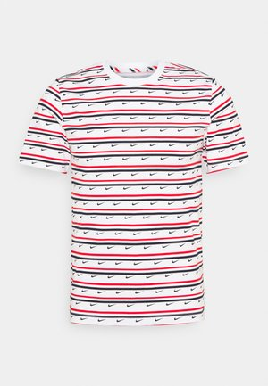 TEE CLUB STRIPE - Print T-shirt - white/university red/obsidian
